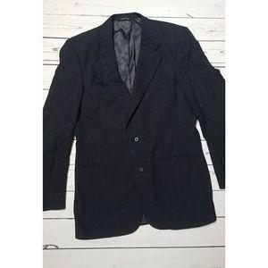 Burberry Men's Navy Blue Wool Suit Jacket Blazer